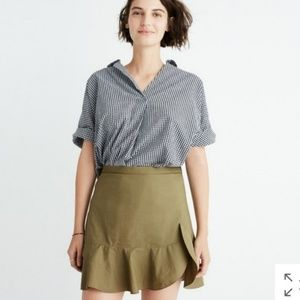 Madewell Skirt Khaki Green Side Ruffle Size 8